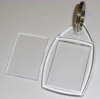40 Blank Acrylic Clear Plastic Keyrings 24mm x 35mm Insert P5