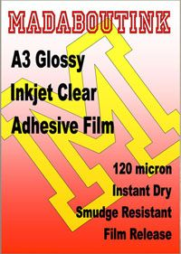 Clear Glossy Vinyl Inkjet Adhesive Sticker Film 10 A3 Sheets